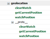 Objeto Geolocation no Firebug