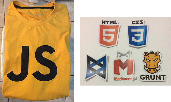 Camiseta JavaScript e Stickers Devs